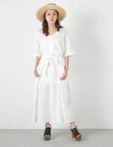 White Linen Flare Long Dress