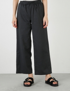 Black Linen Straight Pants