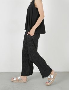 Black Pleats Flare Wide Pants