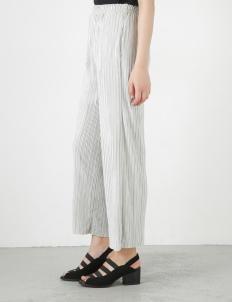 Light Gray Pleats Flare Wide Pants