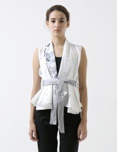 White Alida Belted Vest