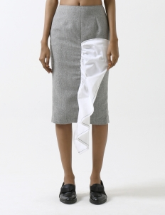 Gray Fishfin Midi Skirt