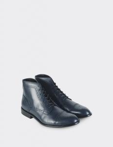 Navy Blue Captoe Brogues Boots