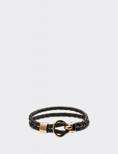 Black Leather Gold Hook Bracelets