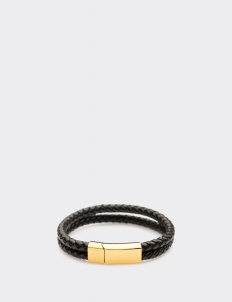 Bi-braided Leather Gold Clasp Bracelets