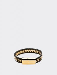 Gold-laced Black Leather Bracelets