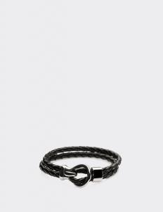 Black Leather Silver Hook Bracelets