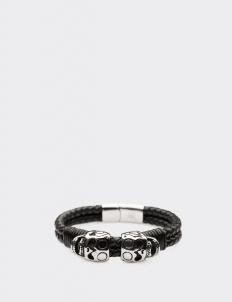 Black Leather Dual Skulls Bracelet
