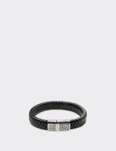 Black Leather Tribal Clasp Bracelets