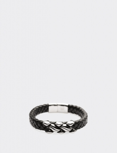 Black leather Grooved Metal Silver Clasp Bracelets