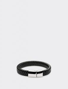 Black Leather Silver Clasp Bracelets