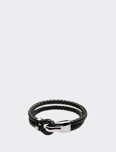 Bi-braided Leather Silver Hook Bracelets