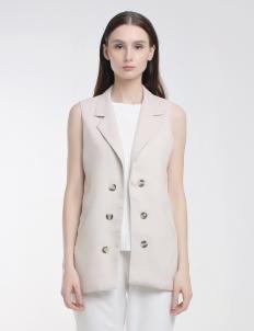 Beige Brea Button Vest