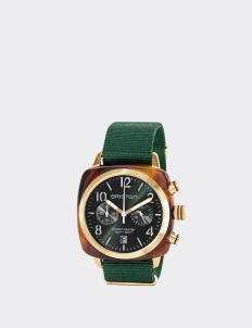 Gold British Green Clubmaster Classic Acetate Chronograph Watch