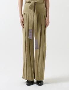 Olive Wideleg Pleated Pants