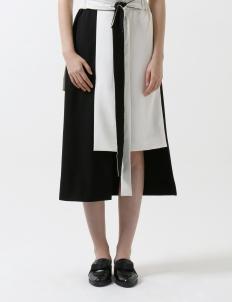White & Black Wrap Skirt