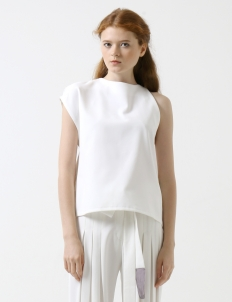 White Asymmetric Pleated Sides Top