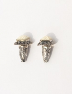 Silver with Bone Earrings