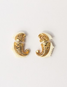 Gold with Bone Earrings