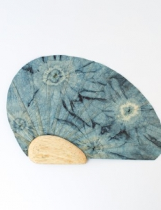 Blue Shibori Paper Fan