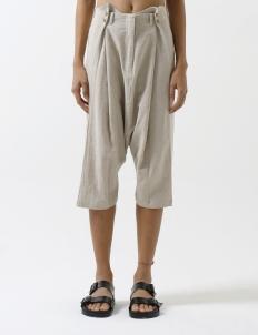 Natural Flax Drape Midi Harem Pant