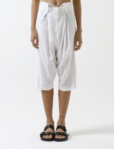 White Drape Midi Harem Pants