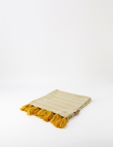 Yellow Khaki Small Knitted Blanket