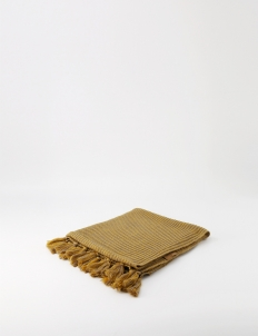 Yellow Striped Small Knitted Blanket