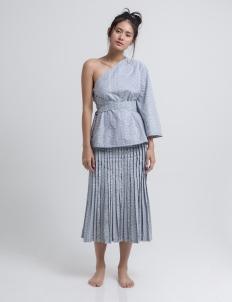 Gray Kila One Shoulder Batik Top
