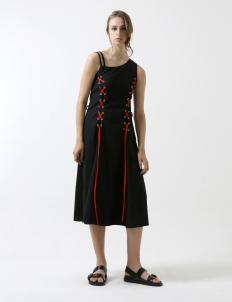 Black Eyelet Godet Dress