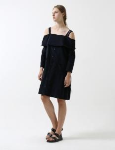 Navy Off Shoulder Dress