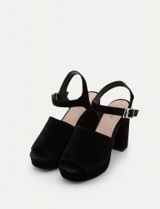 Black Buckle Sabot Sandals