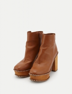 Brown Wooden Heel Boots