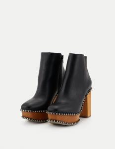 Black Wooden Heel Boots