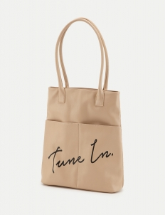 Light Beige Message Tote Bag