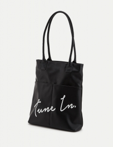 Black Message Tote Bag