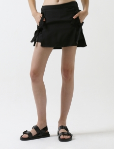 Black Side Ribbon Skort