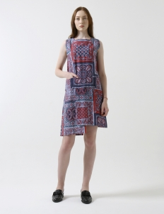 Purple Traditional Tiles Sleeveless Dress