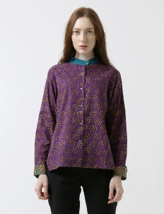 Teal Purple Jumput Segi Warna Long Sleeve Shirt