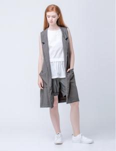 Gray Herringbone Maxi Vest