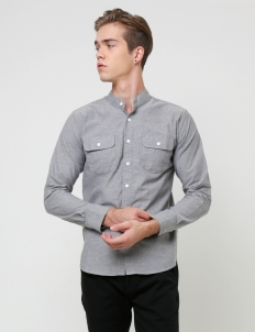 Gray Band Collar Long Sleeve Shirt