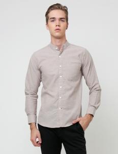Cream Band Collar Long Sleeve Shirt