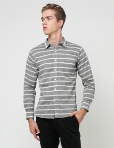 Grey & White Stripe  Button Up Long Sleeve Shirt