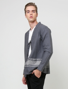 Dark Gray Throw On Kimono Outerwear