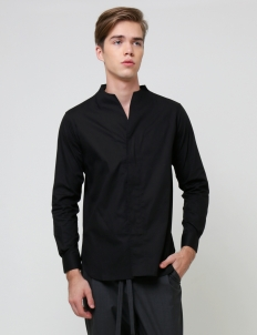 Black Collarless Longsleeved Shirt