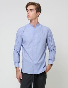 Light Blue Collarless Longsleeved Shirt