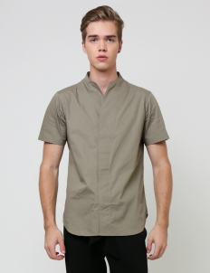 Olive Green Collarless Shortsleeved Shirt