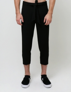 Black Easy Cropped Trousers