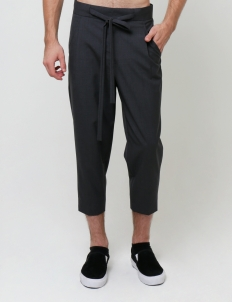 Dark Gray Easy Cropped Trousers