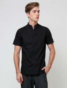 Black Collarless Shortsleeved Shirt